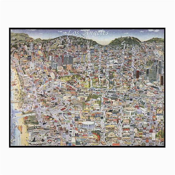 vintage los angeles map ca print hand drawn l a california art