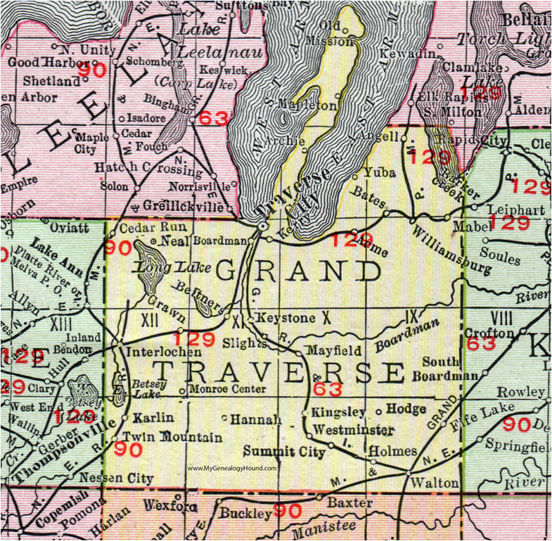 grand traverse county michigan 1911 map rand mcnally traverse