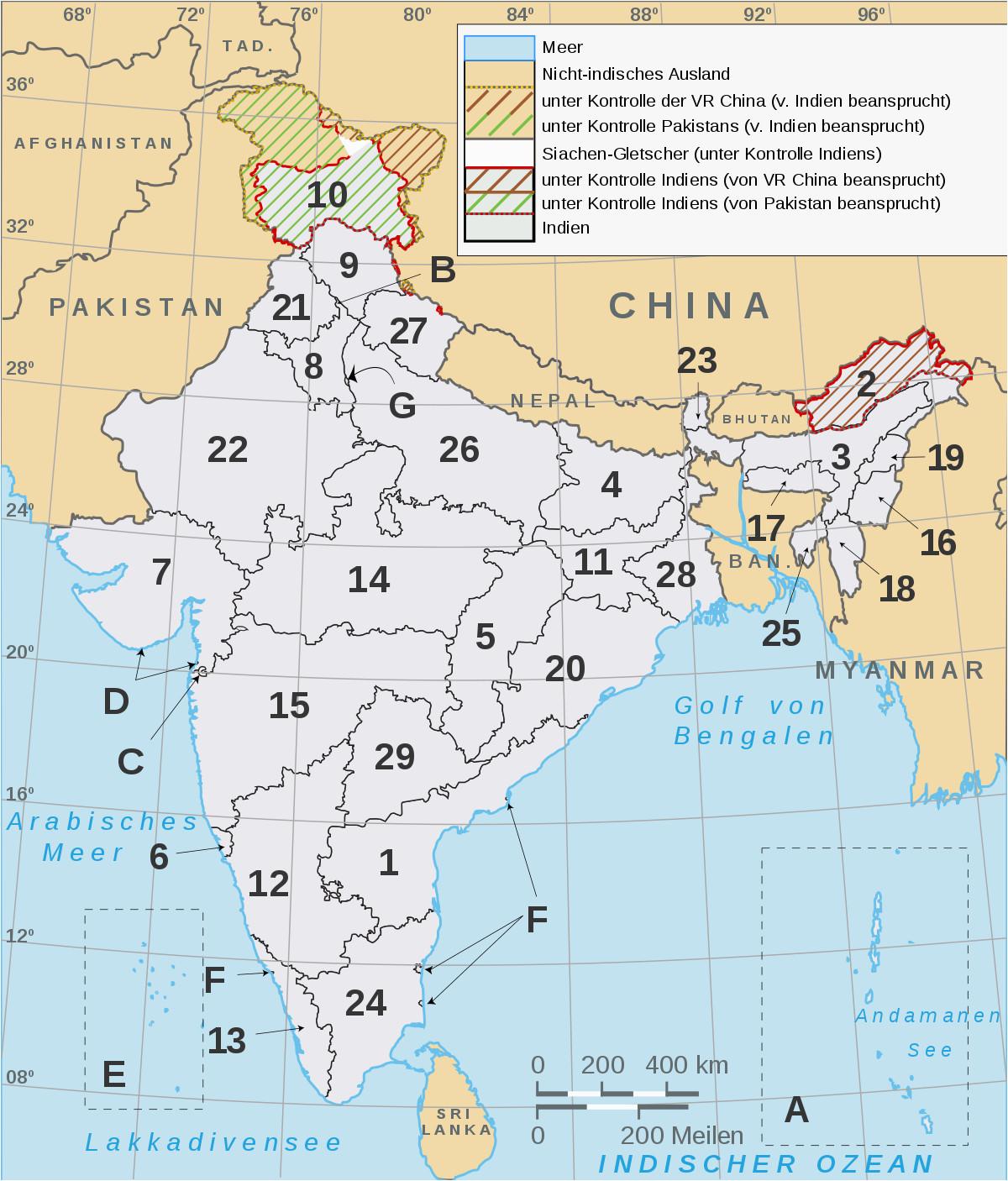 liste der bundesstaaten und unionsterritorien in indien wikipedia