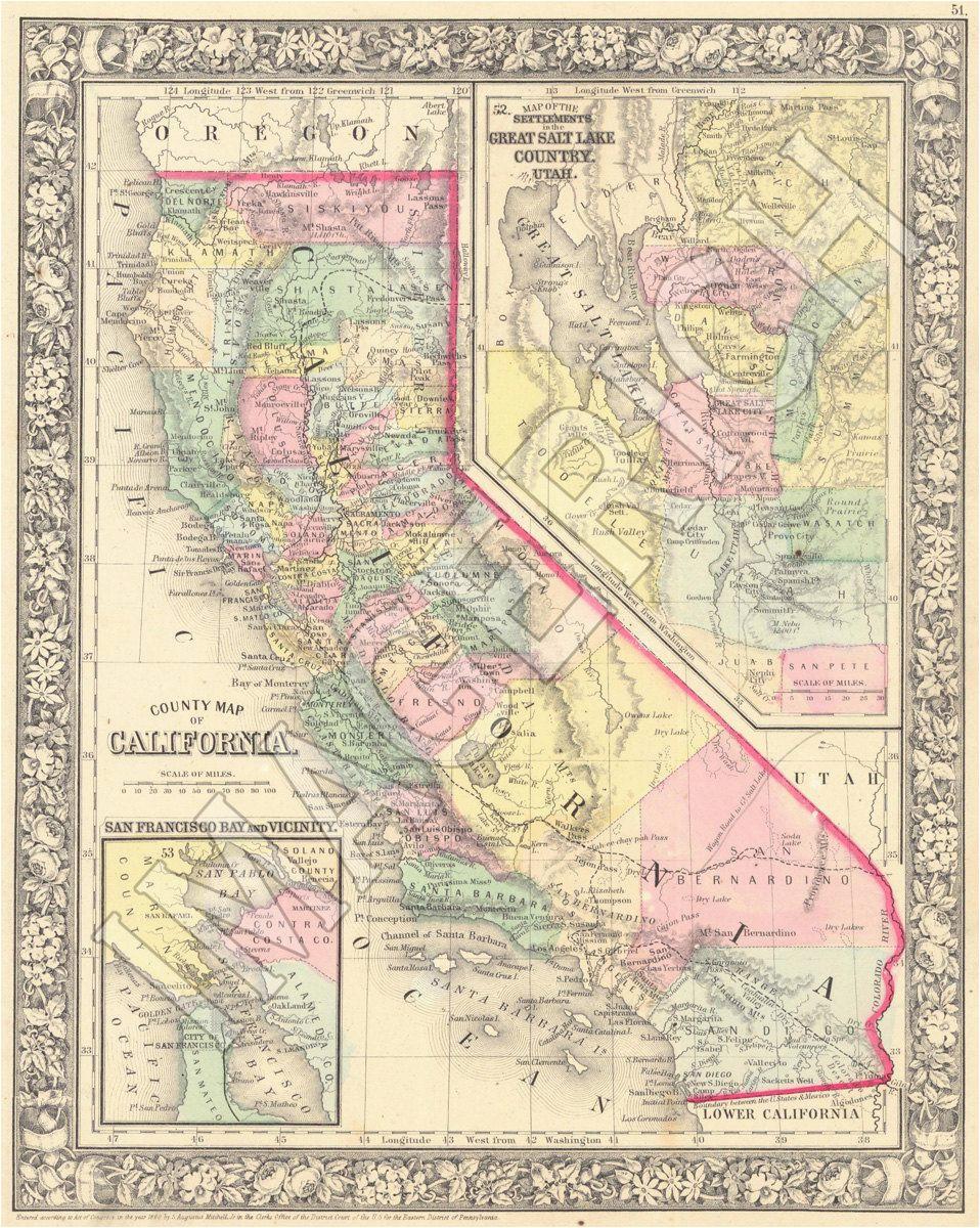 vintage state map california 1860 gift ideas pinterest