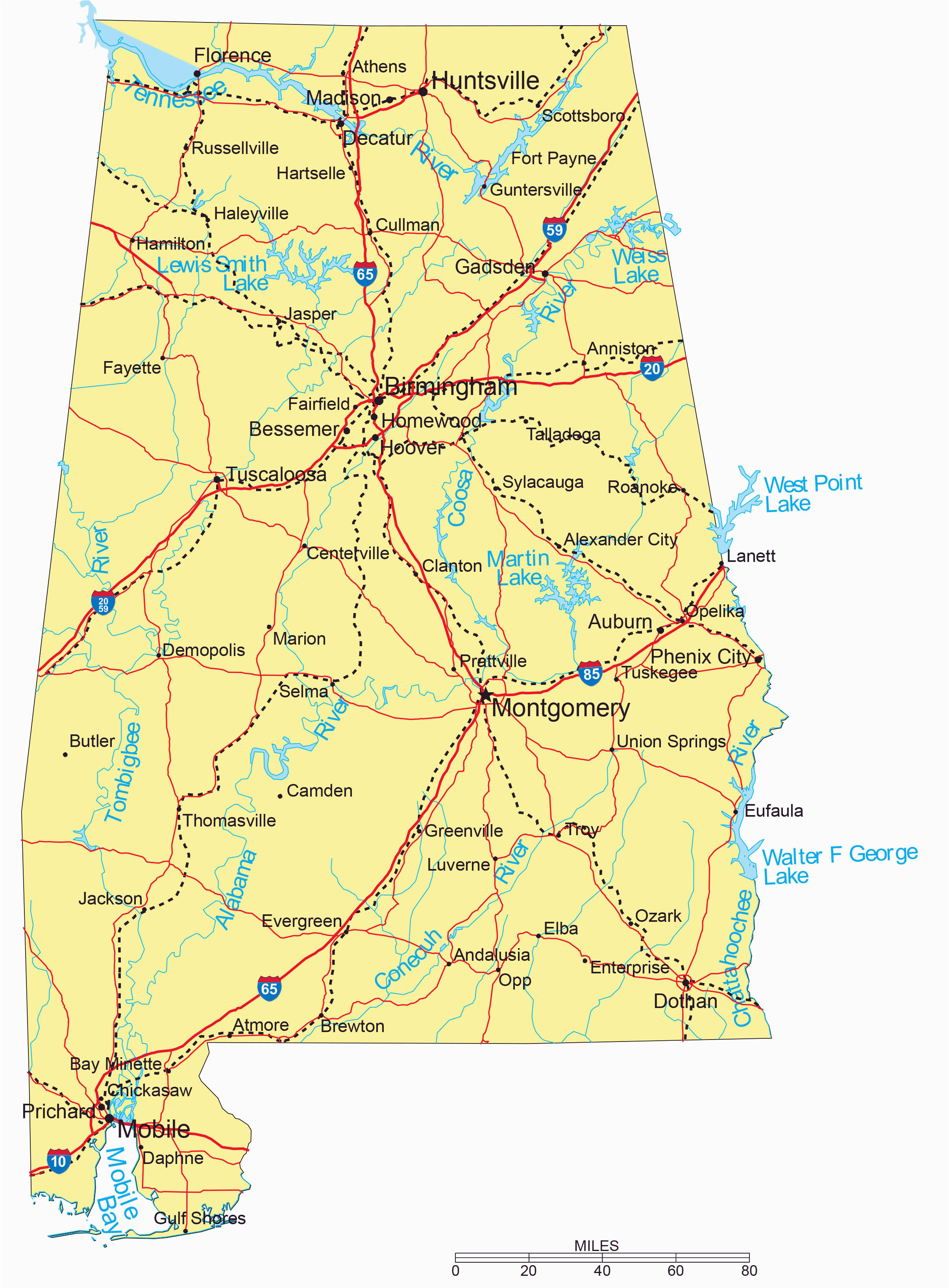 large detailed highways map of alabama with major cities picture
