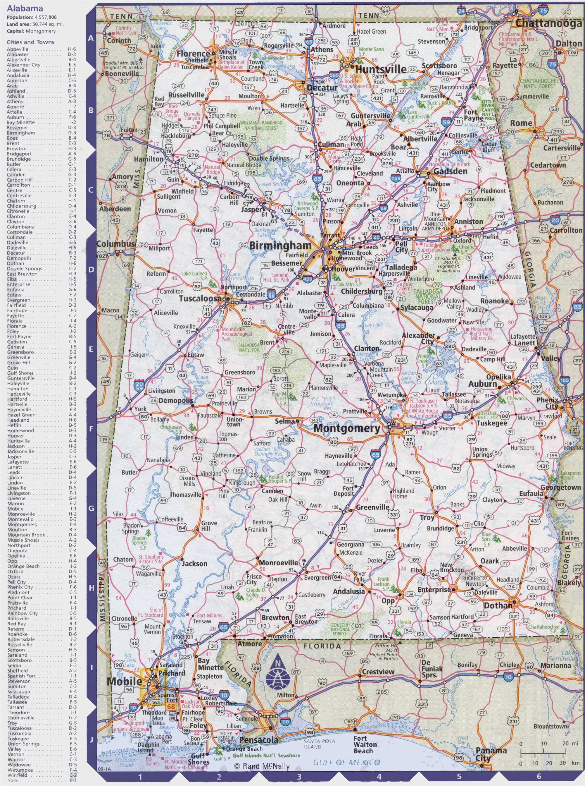 map of alabama with cities and towns