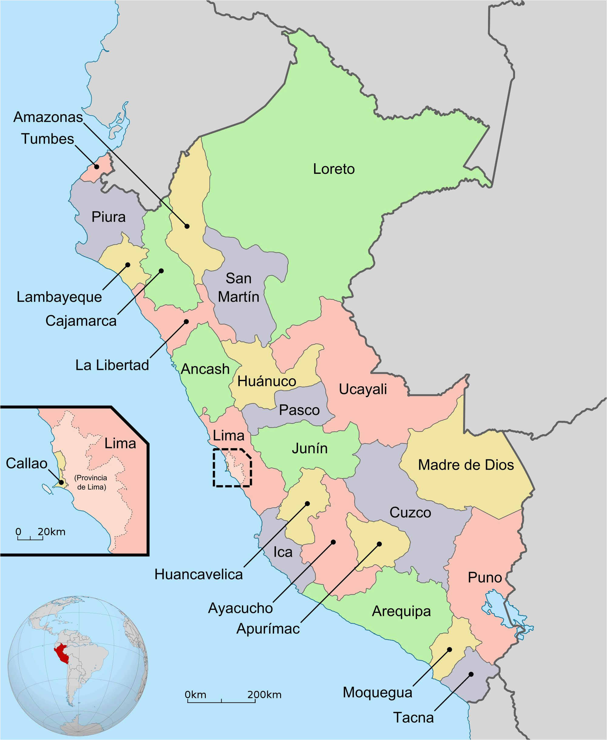 large detailed regions and departments map of peru peru large