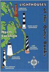 Lighthouses In north Carolina Map Outer Banks Lighthouses State Map Cape Hatteras north Carolina 5