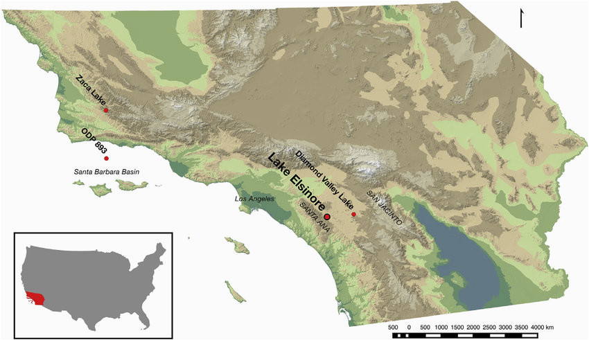 map of southern california showing location of lake elsinore and odp