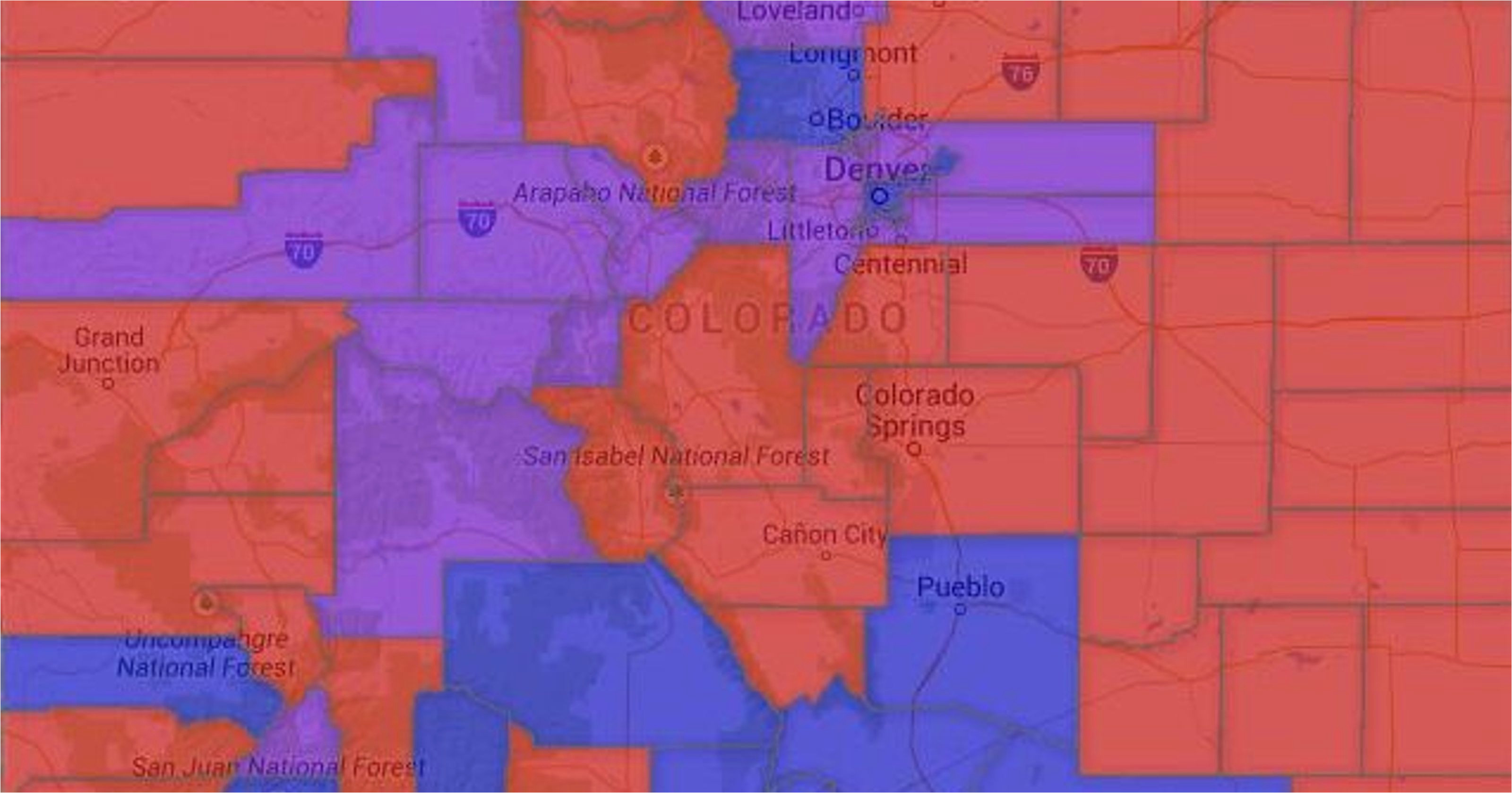 Loveland Colorado Zip Code Map Map Colorado Voter Party Affiliation by County