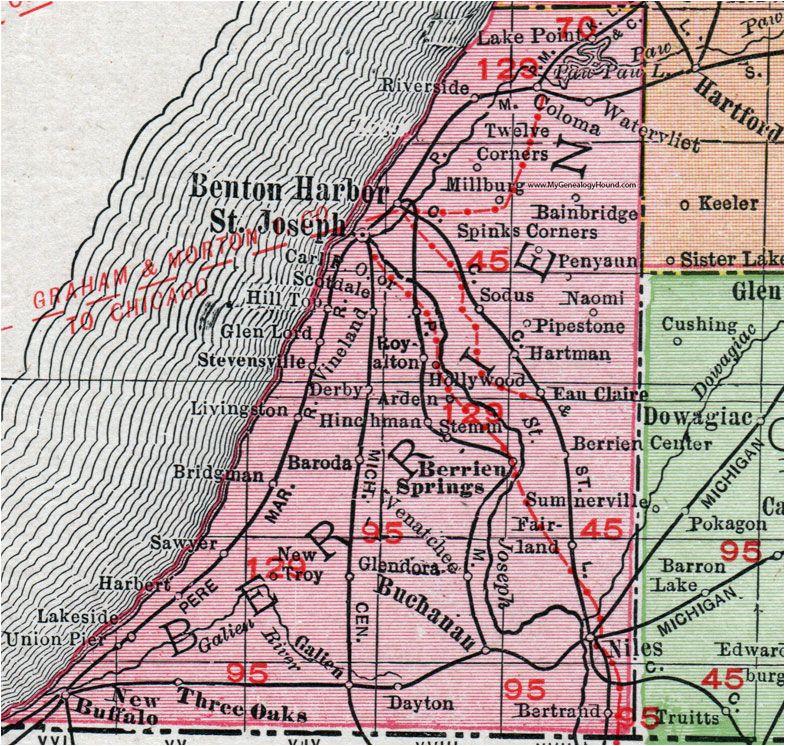 berrien county michigan 1911 map rand mcnally st joseph