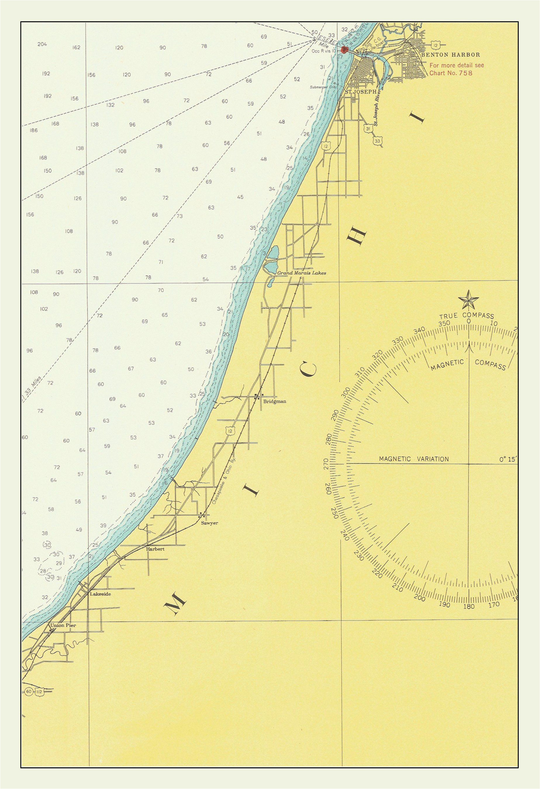 lake michigan map eastern shore benton harbor 1947 products