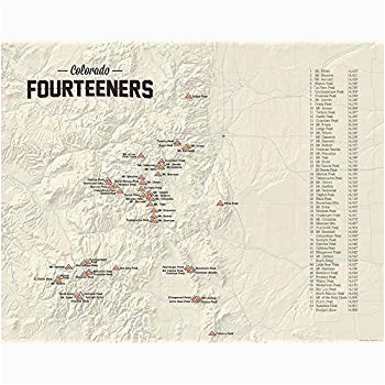 amazon com 58 colorado 14ers map 18x24 poster tan posters prints