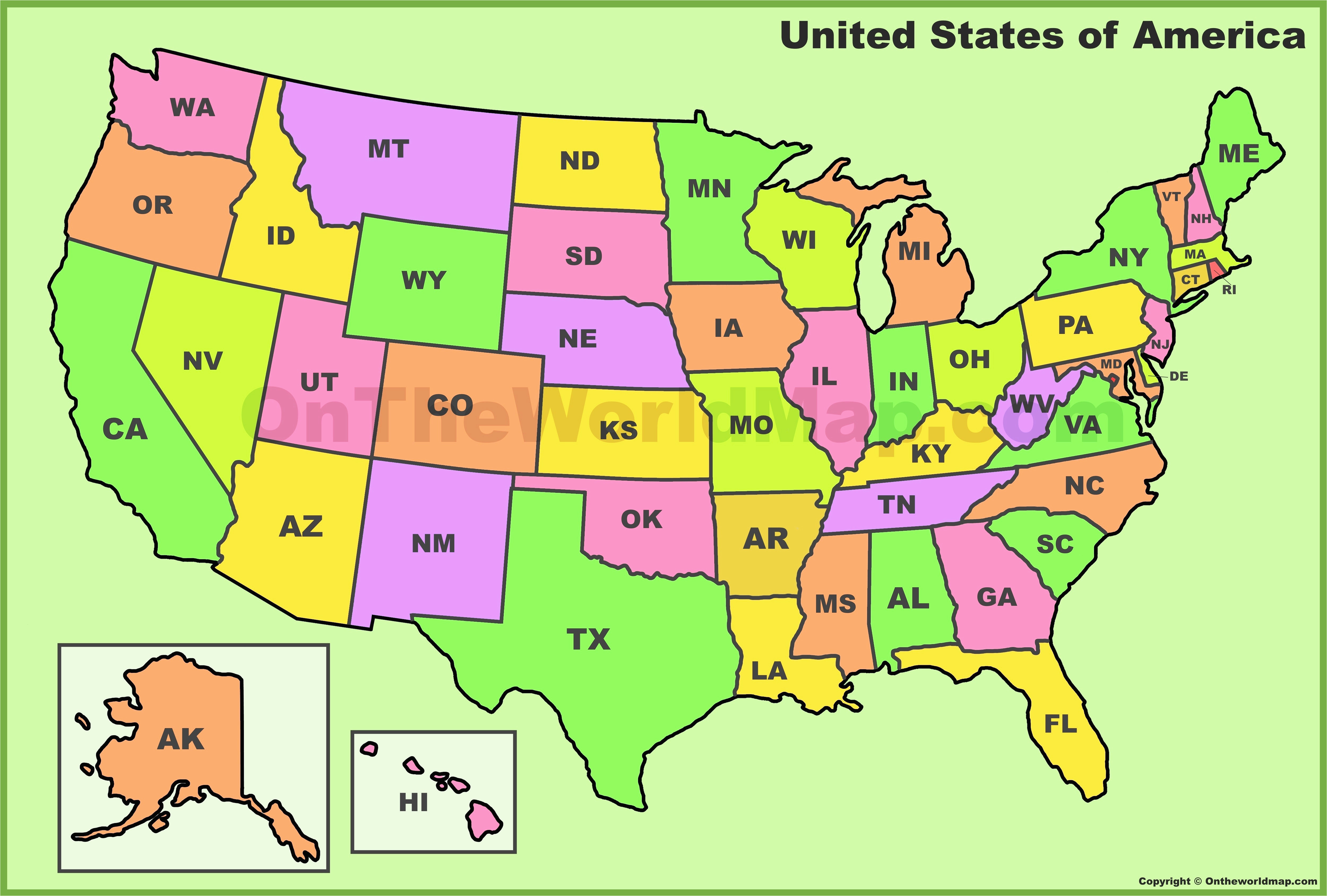 pictures of a map of the united states us map abbreviations quiz