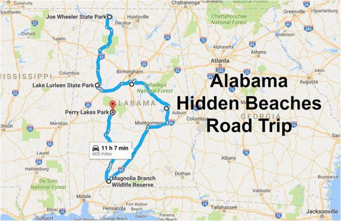 the alabama hidden beaches road trip