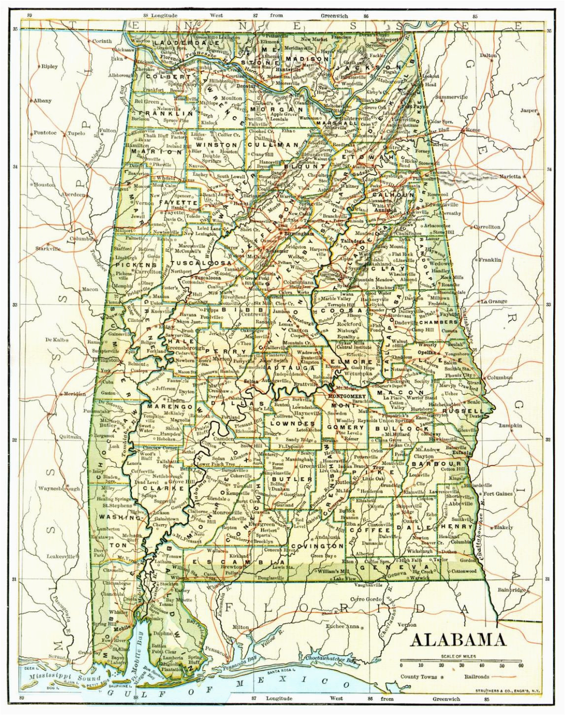 alabama county map with roads ny county map