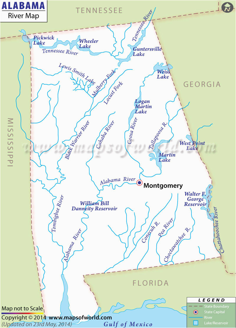Map Of Alabama Rivers Alabama Rivers Map Rivers In Alabama