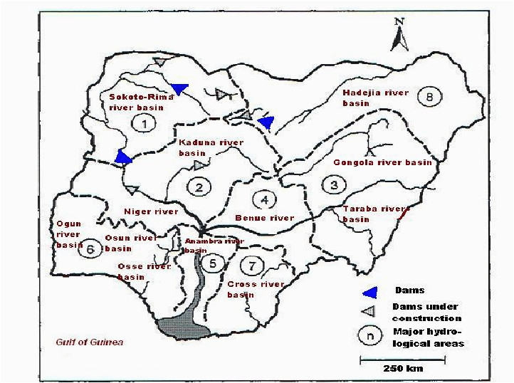 map of nigeria showing major rivers and hydrological basins 1 niger