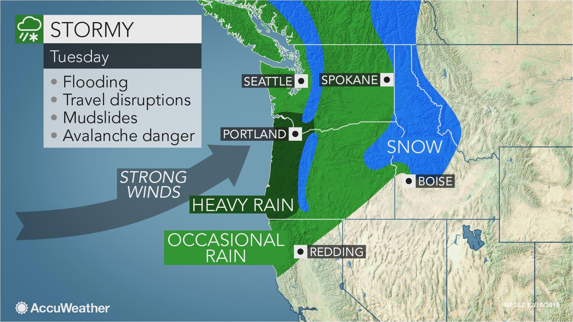 early week storm may be strongest yet this season in northwestern us