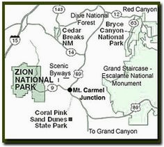 a map of southern utah and northeast arizona showing how close zion
