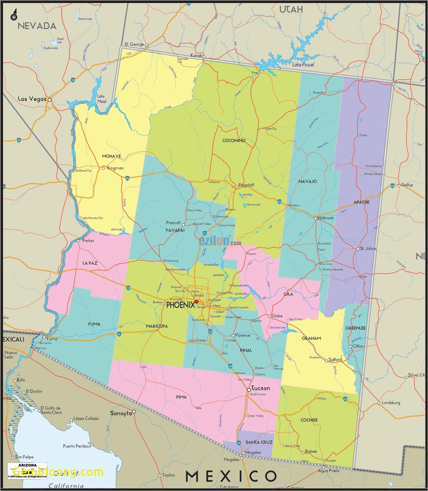 arizona county map awesome mesa arizona usa map best arizona map