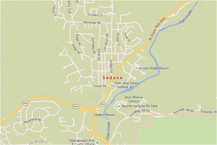 sedona arizona map with directions and address