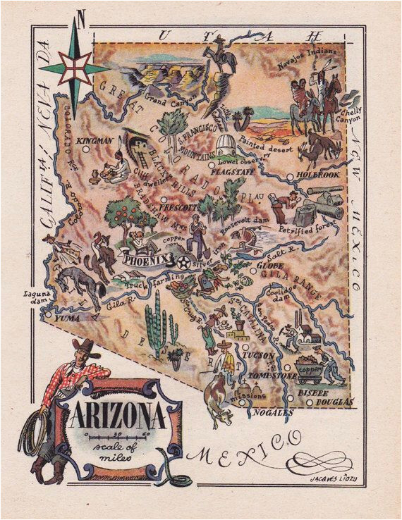 map of arizona from 1946 by french artist jacques liozu digital