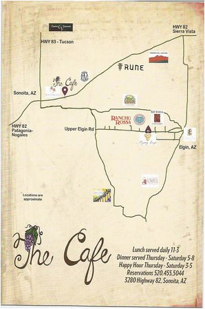 small map from cafe of wineries picture of the cafe sonoita