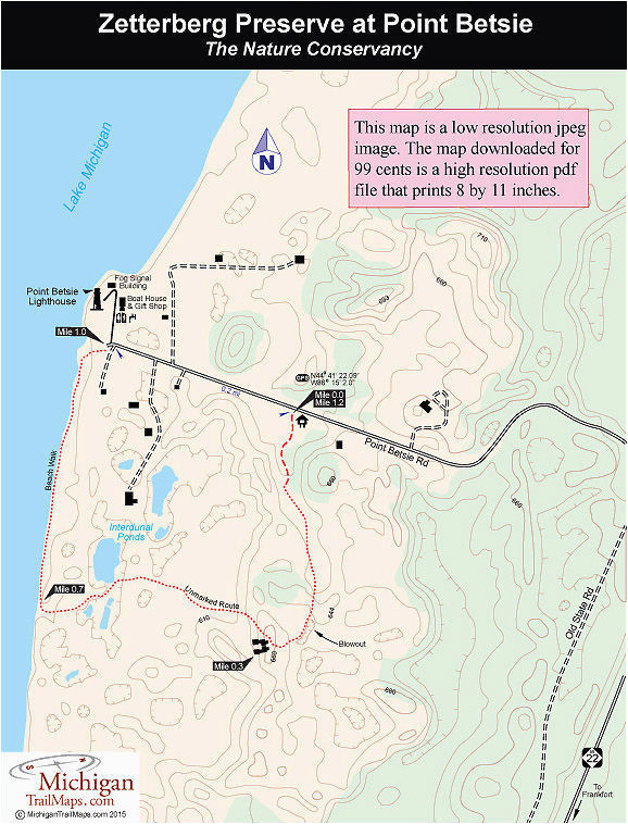 Map Of Baldwin Michigan Zetterberg Preserve at Point Betsie