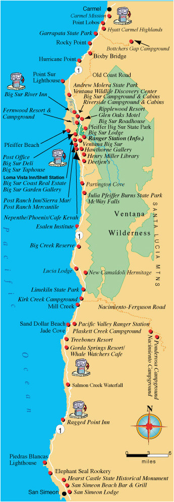 maps directions and transportation to big sur california
