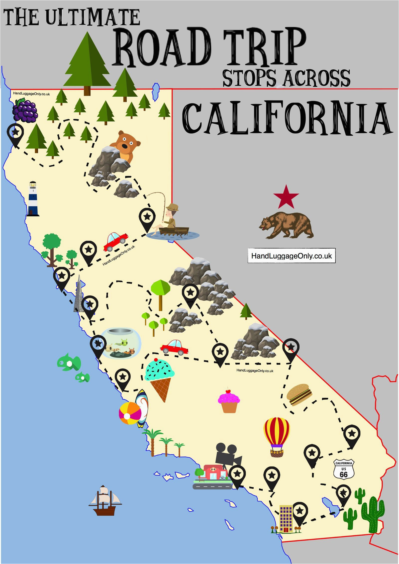 the ultimate road trip map of places to visit in california travel