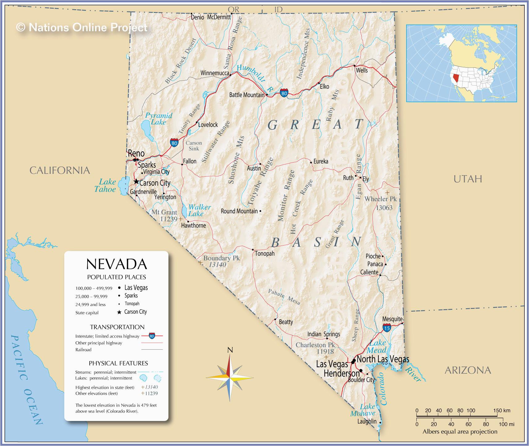 Map Of California Nevada Border Map Of Nevada and California ...