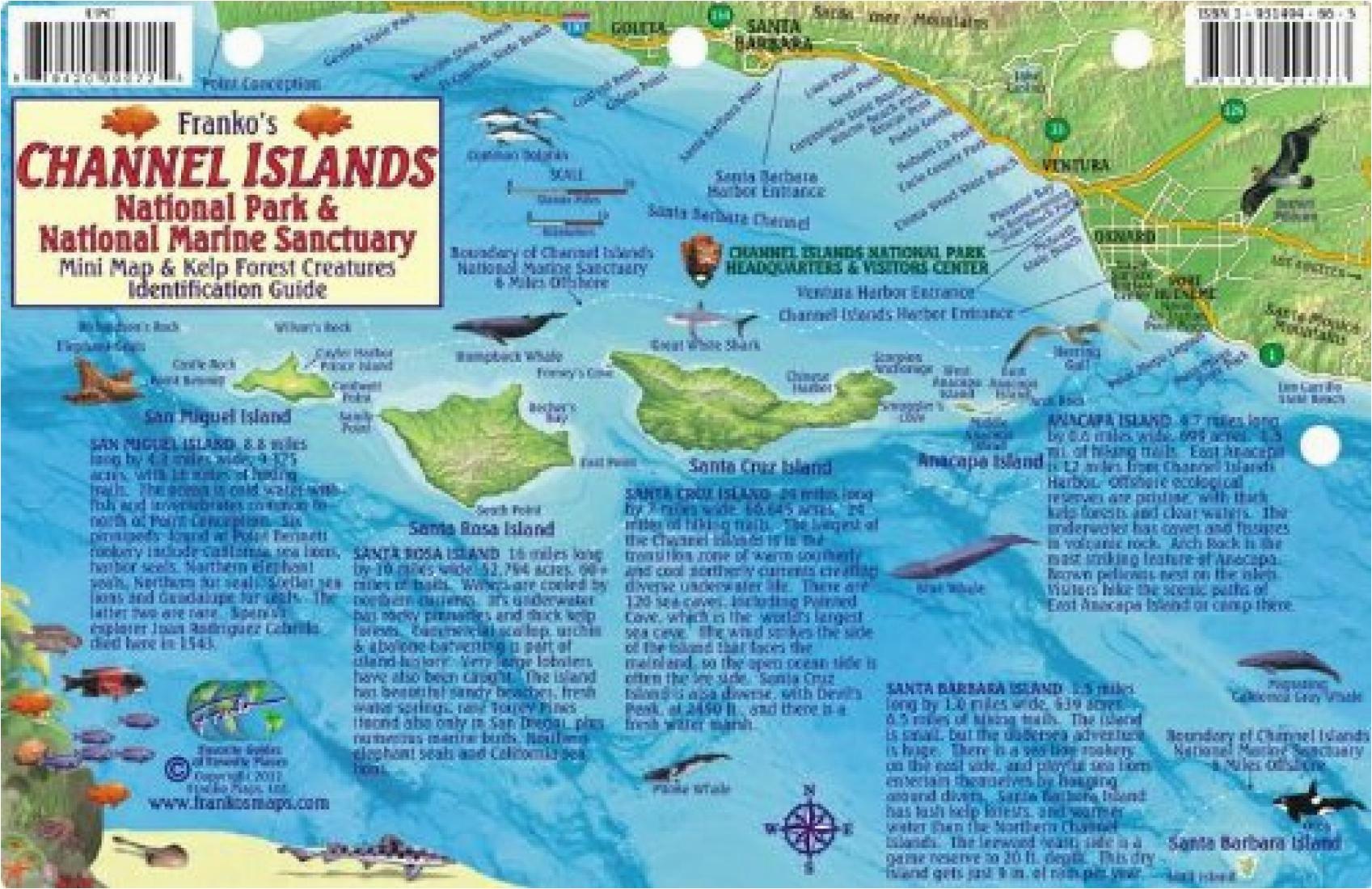 california fish card channel islands 2011 by frankos maps ltd