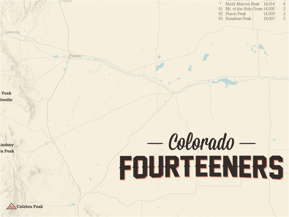 Map Of Colorado Fourteeners Amazon Com 58 Colorado 14ers Map ...
