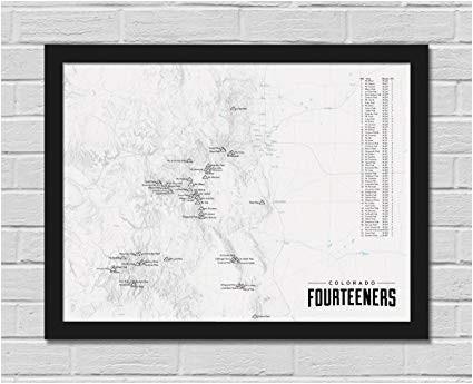 amazon com best maps ever 58 colorado 14ers map framed 18x24 poster