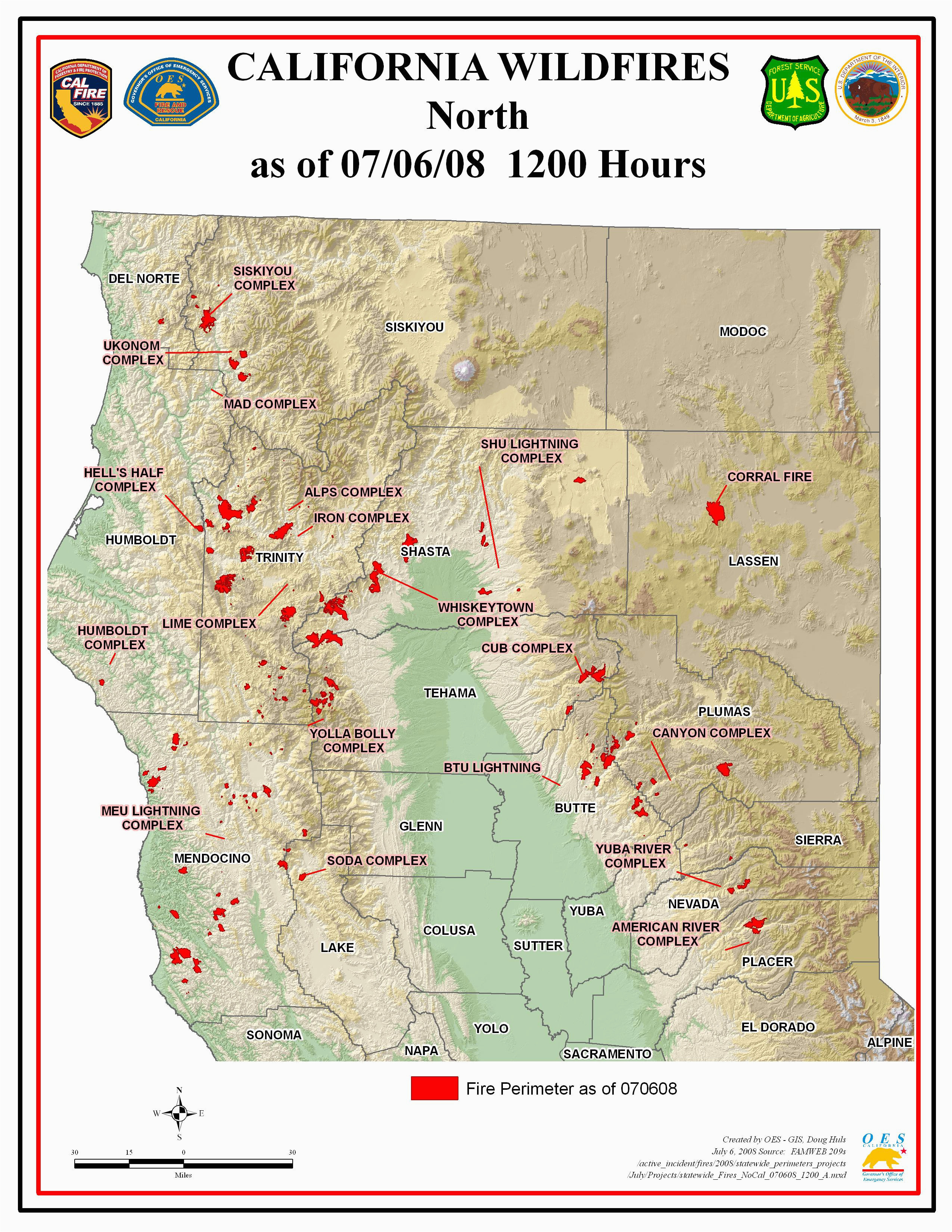 Map Of Current Fires In northern California | secretmuseum S In Northern California Map on