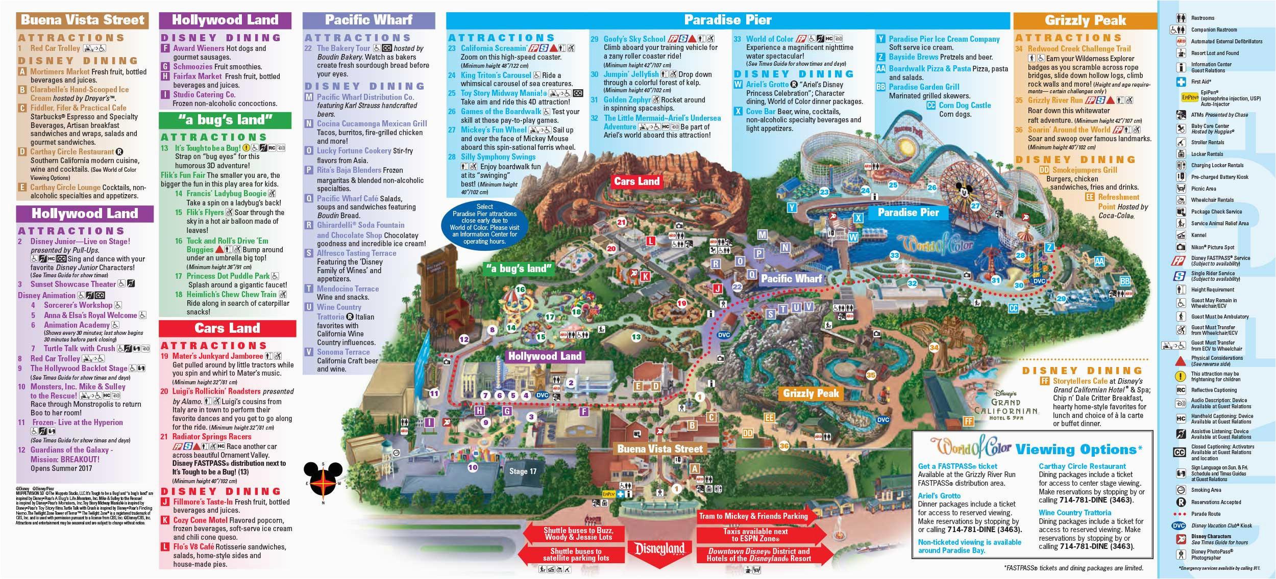 Disneyland California Adventure Map Map Of Disneyland and California Adventure Park Disneyland