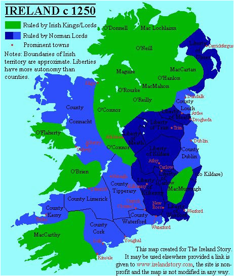 the map makes a strong distinction between irish and anglo french