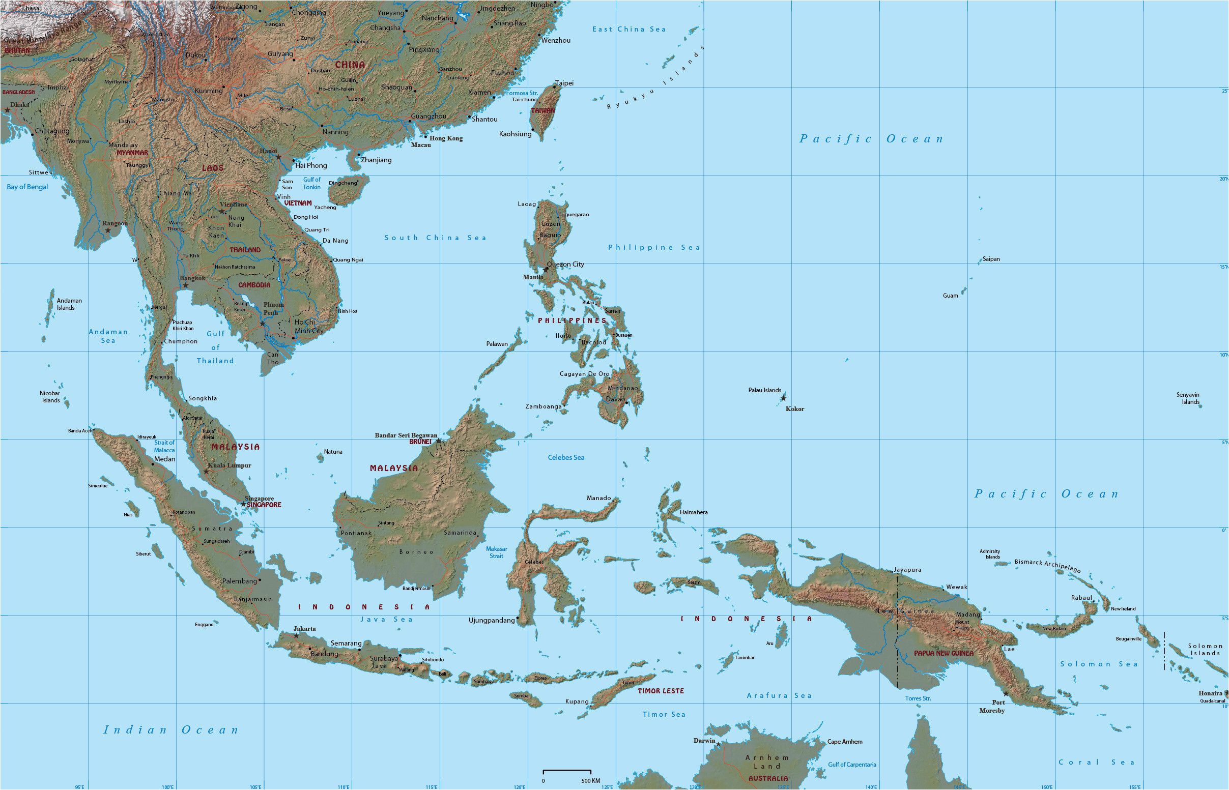 Map Of Georgia In Asia.Map Of East Georgia Southeast Region Map Best Of Physical Maps East