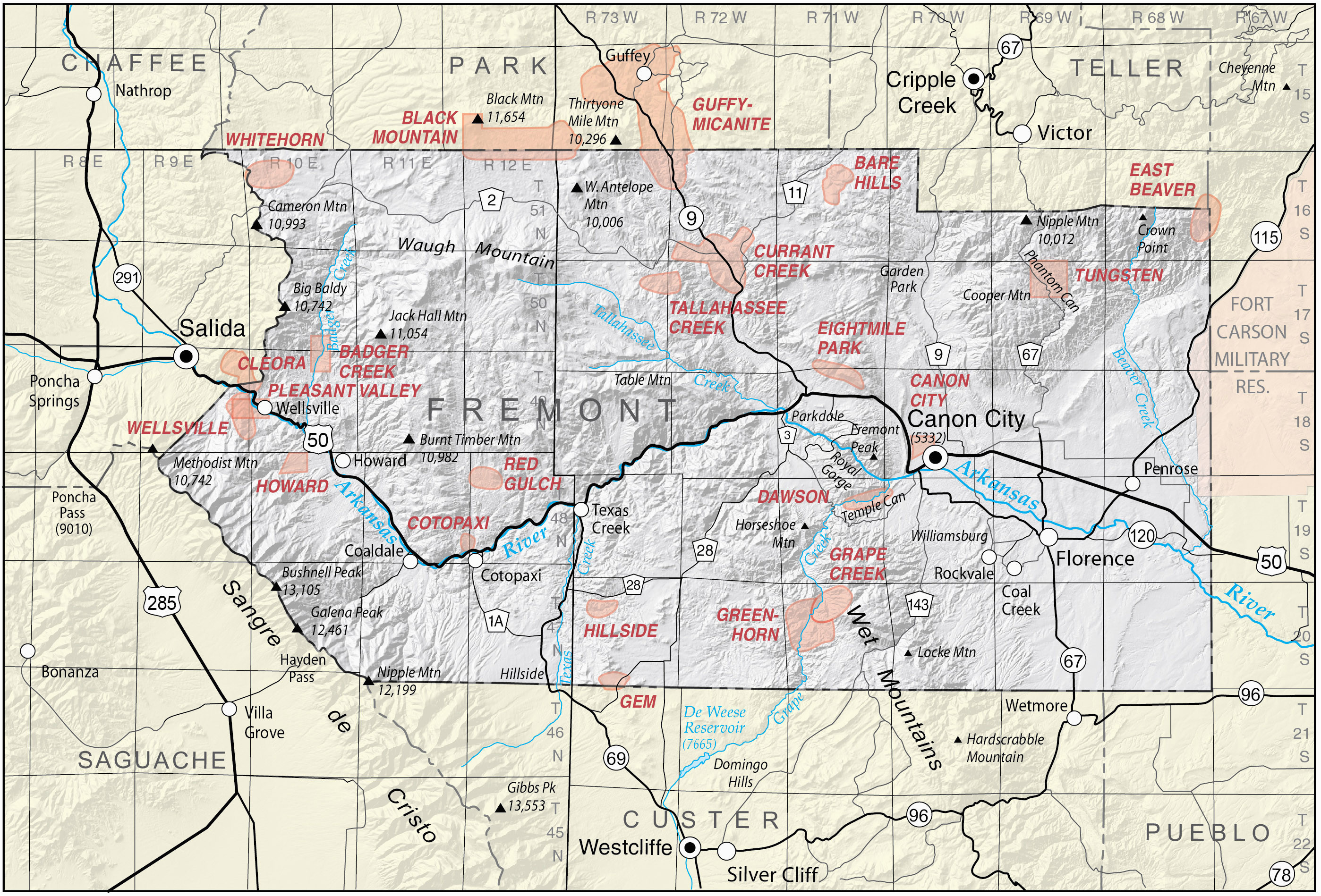 Map Of Fremont County Colorado   secretmuseum Inson County State Land Map on