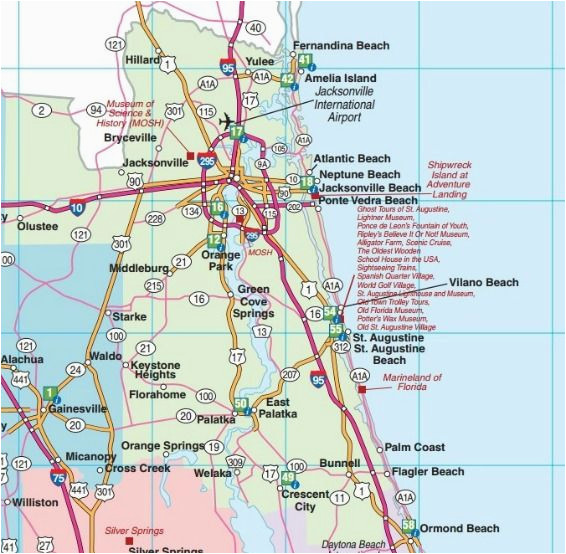 Map Of Georgia and Florida Cities northeast Florida Road Map Showing ...