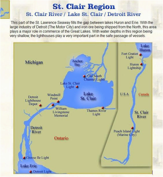 9caea875a Map Of Lighthouses In Michigan St Clair Region Lighthouse Map Mi  Lighthouses Pinterest