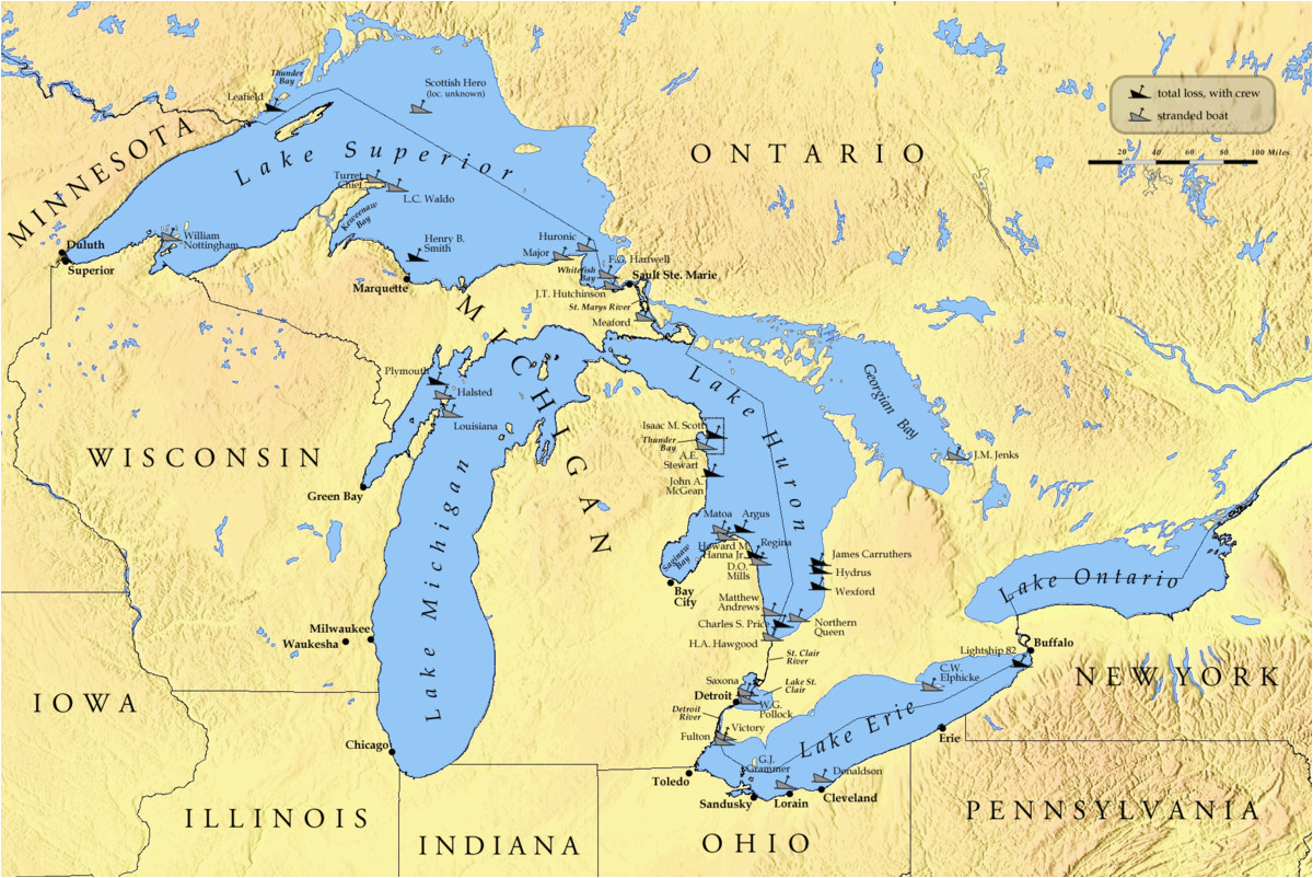 Map Of Michigan and Great Lakes List Of Shipwrecks In the Great Lakes Wikipedia