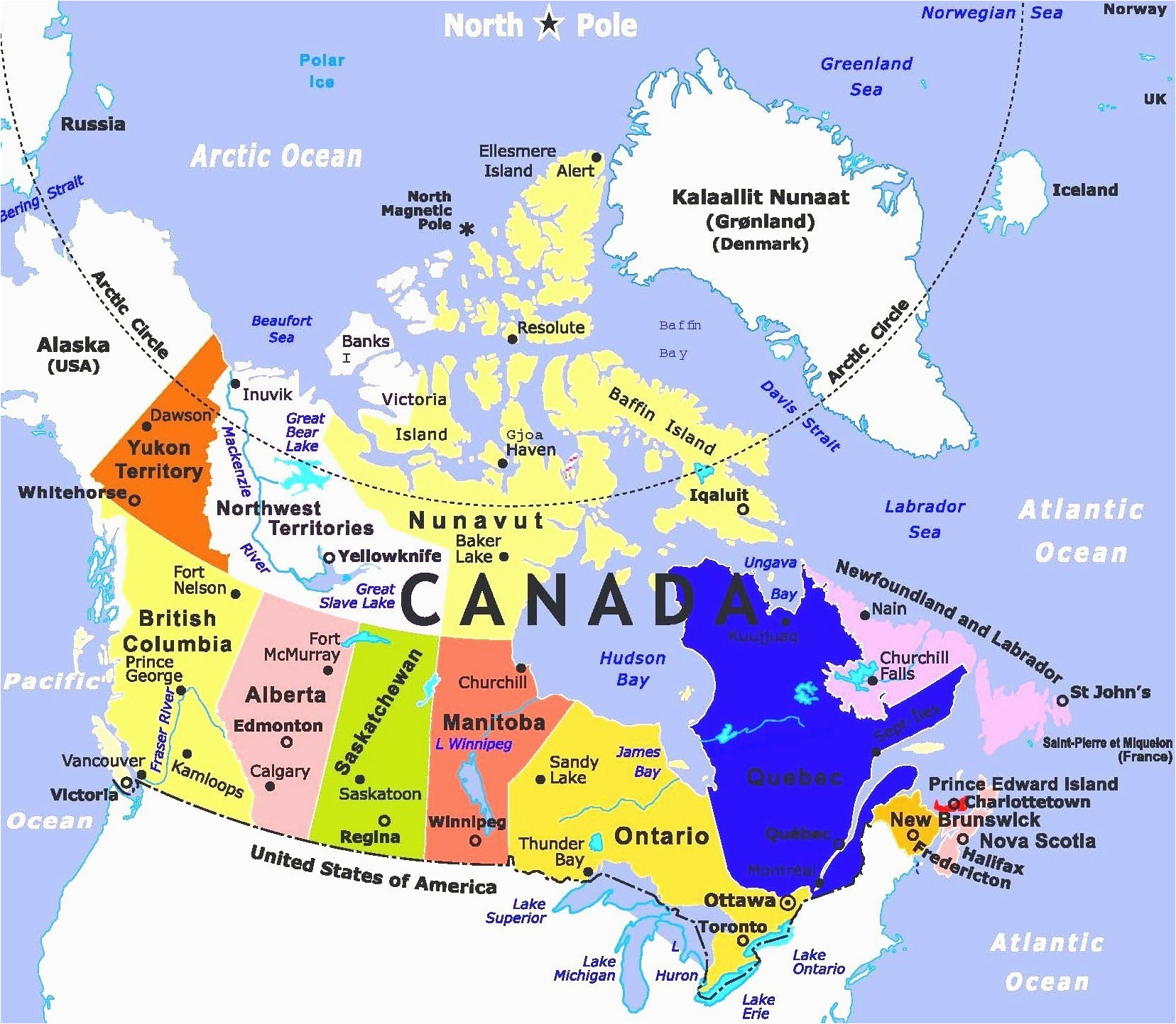 Major Cities Of Canada Map.Map Of Michigan And Ontario Canada Us Canada Map With Major Cities