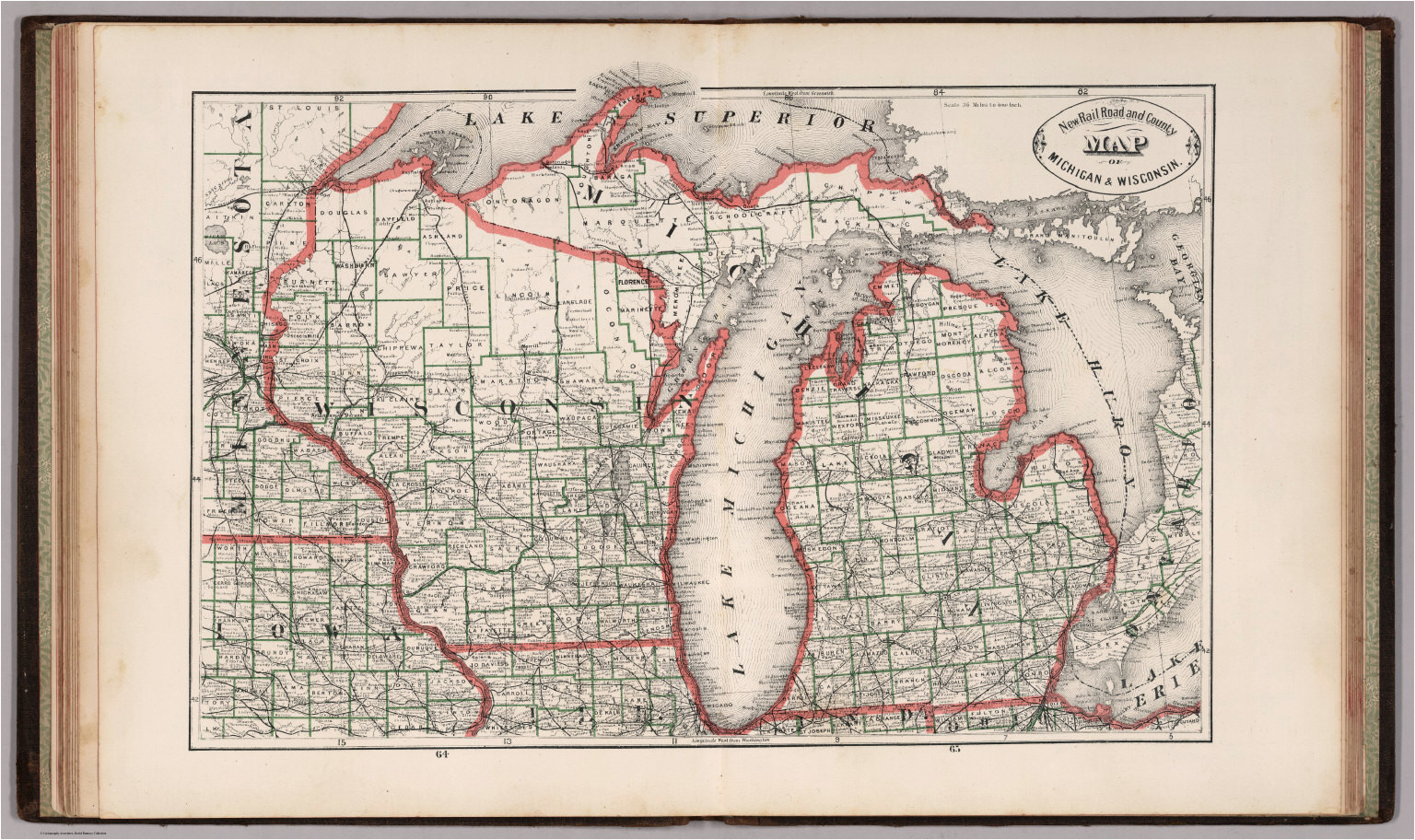 new rail road and county map of michigan and wisconsin david