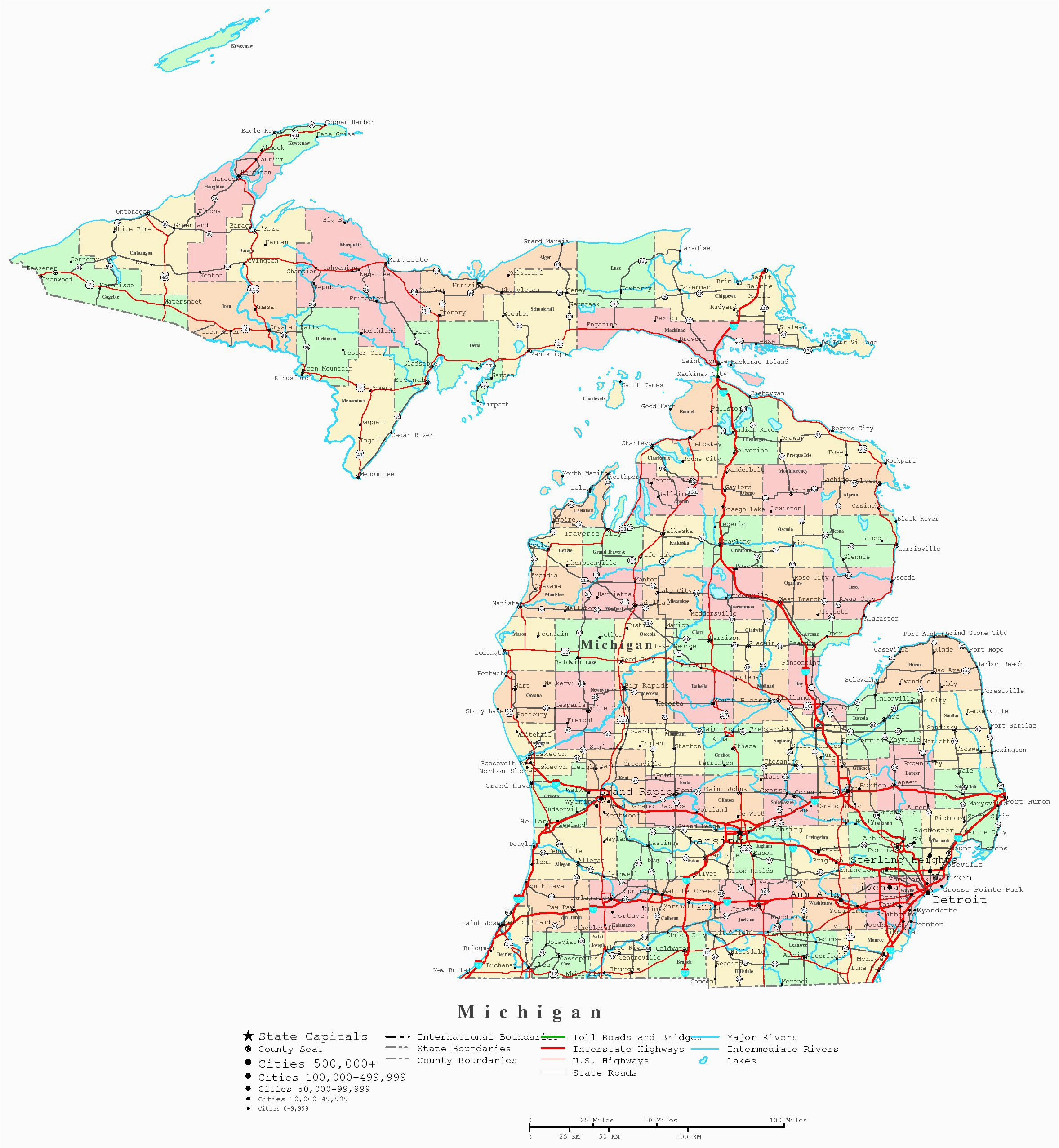 michigan map with cities and counties awesome best s of print map