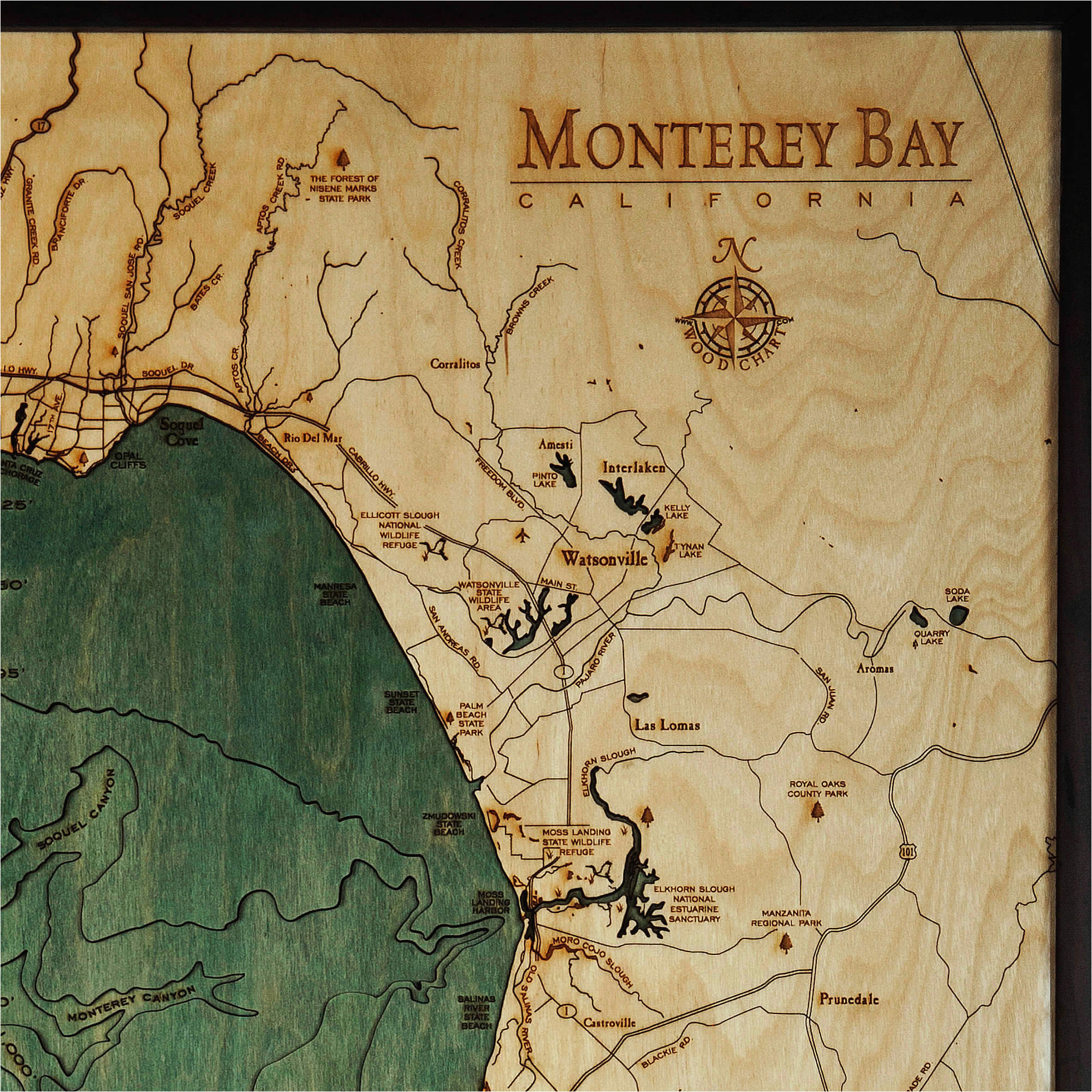 monterey bay wood map 3d nautical topographic chart framed art