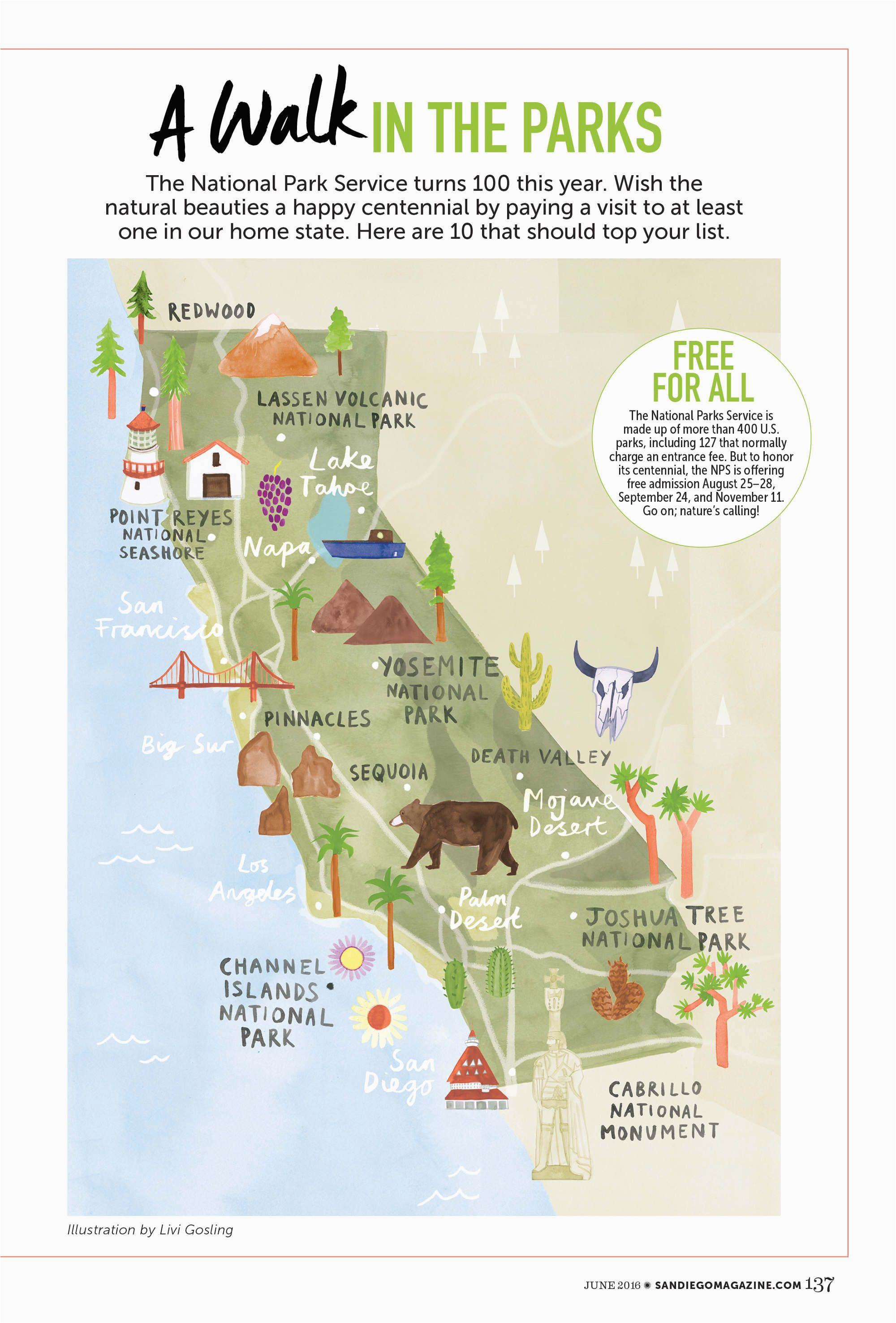 livi gosling map of california national parks california camping