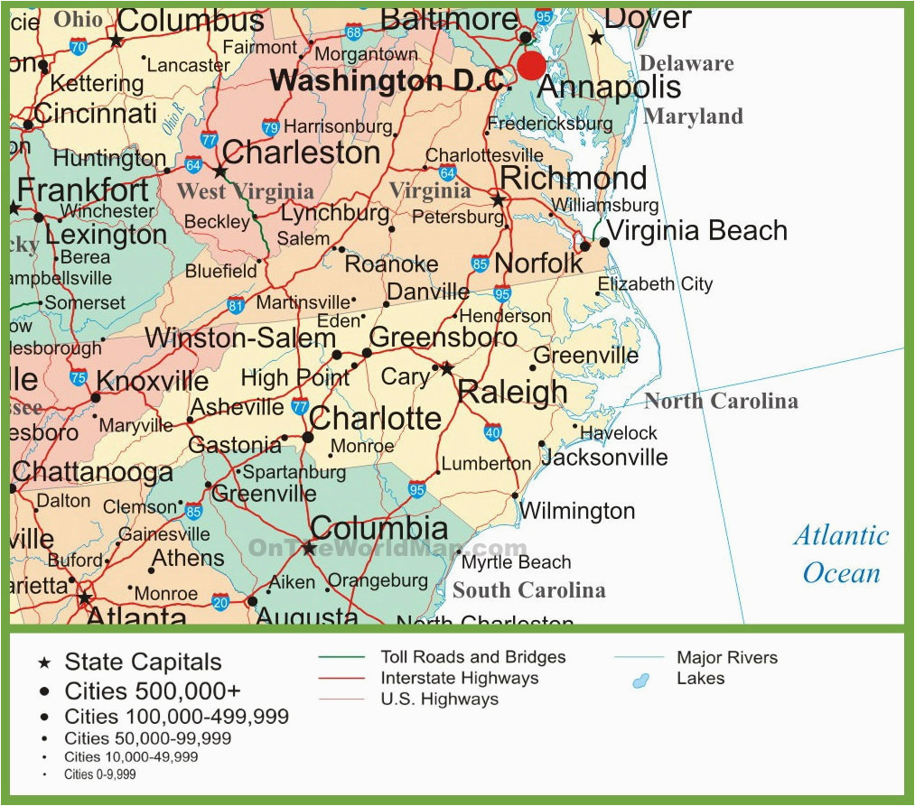 map of virginia and north carolina
