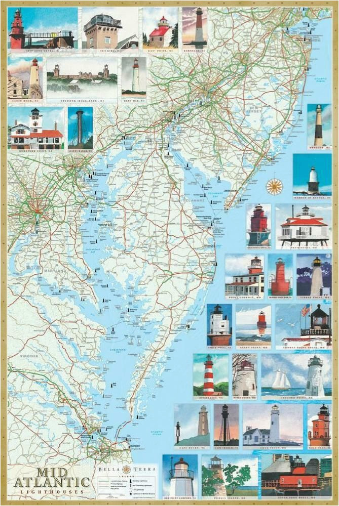 mid atlantic lighthouses map the illustrated map and guide to all