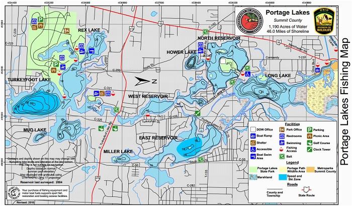 Map Of Ohio Lakes Portage Lakes