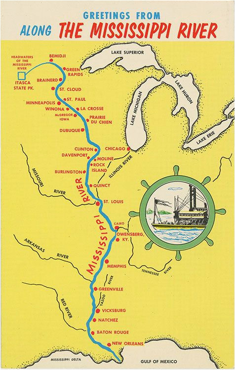 mississippi river from bemidji to new orleans state map vintage