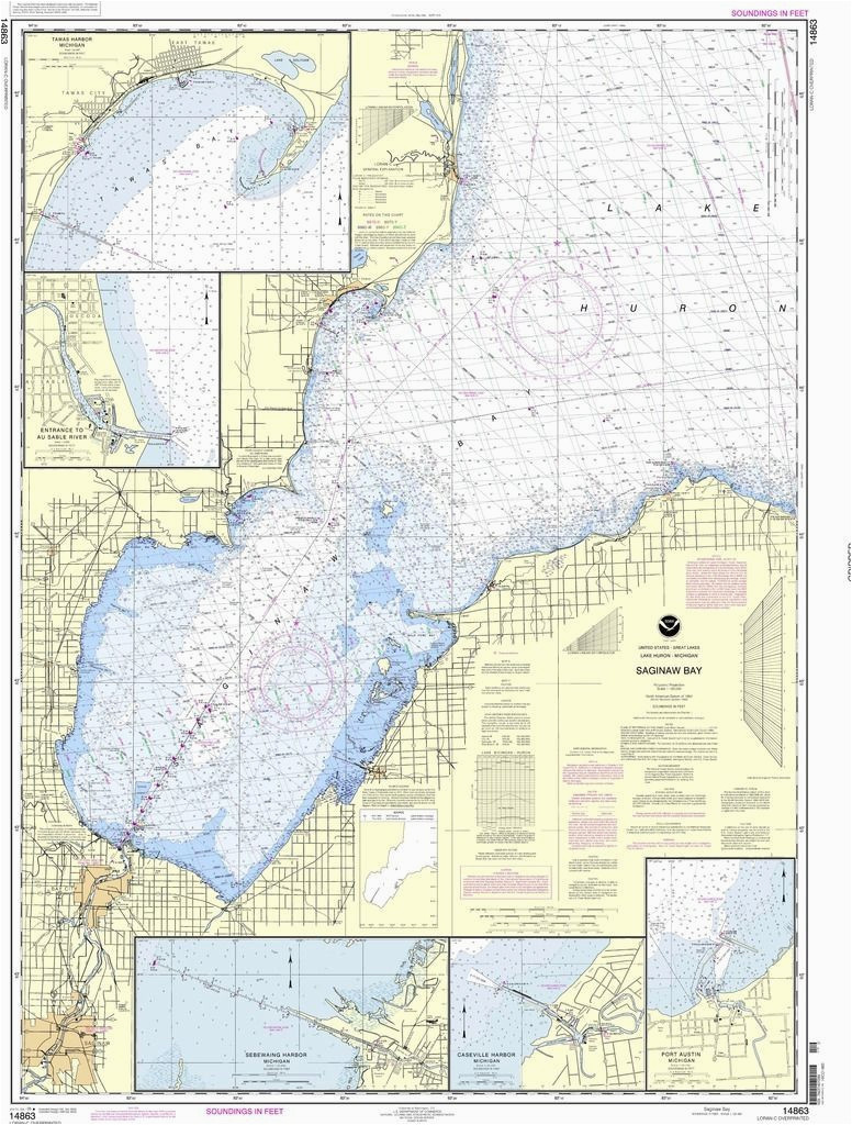 noaa nautical chart 14863 saginaw bay port austin harbor caseville