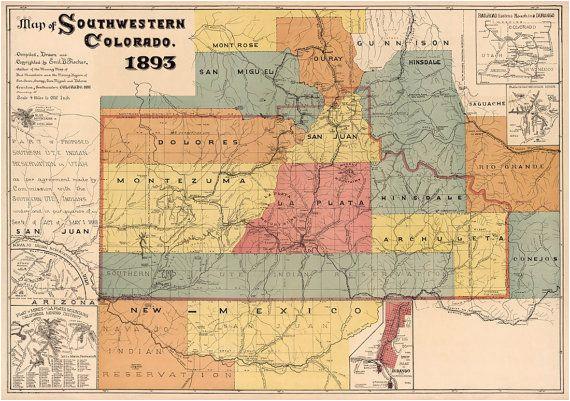 map of colorado southwestern colorado map fine print vintage